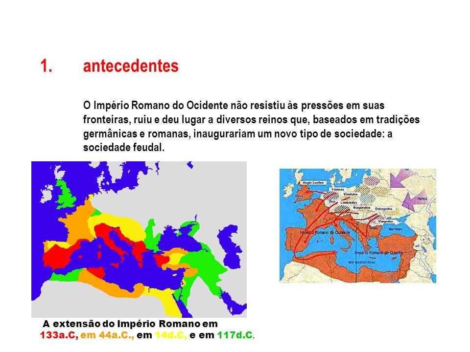antecedentes O Império Romano do Ocidente não resistiu às pressões em suas fronteiras, ruiu e deu lugar a diversos reinos que, baseados em tradições germânicas e romanas, inaugurariam um novo tipo de sociedade: a sociedade feudal.