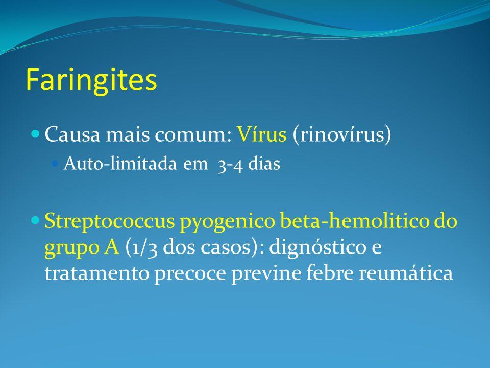 Faringites Causa mais comum: Vírus (rinovírus)