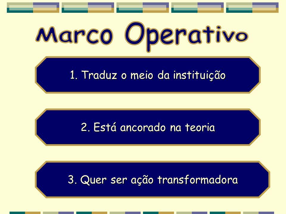 Marco Operativo 1. Traduz o meio da instituição