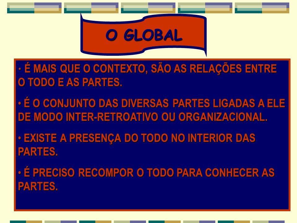 O GLOBAL É MAIS QUE O CONTEXTO, SÃO AS RELAÇÕES ENTRE O TODO E AS PARTES.
