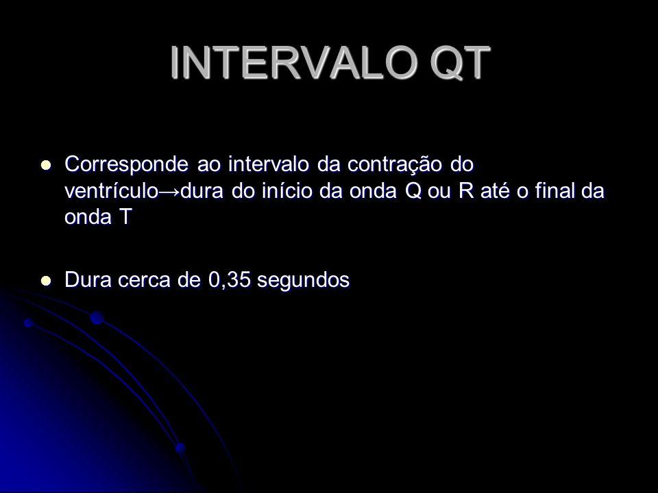 INTERVALO QT Corresponde ao intervalo da contração do ventrículo→dura do início da onda Q ou R até o final da onda T.
