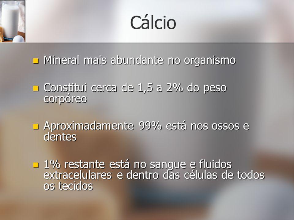 Cálcio Mineral mais abundante no organismo