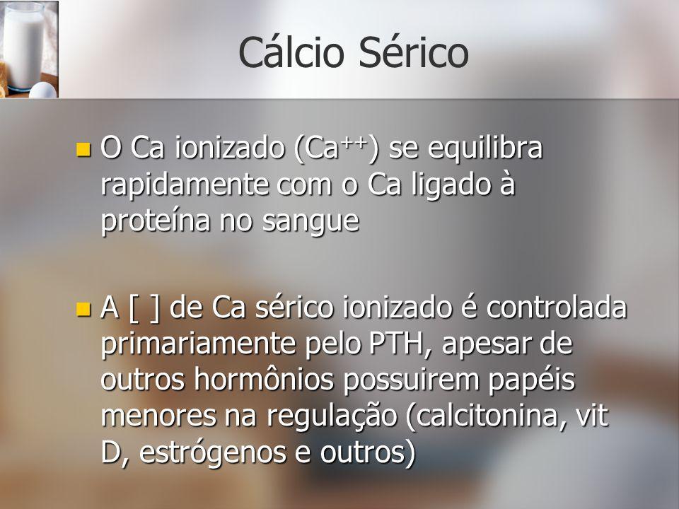 Cálcio Sérico O Ca ionizado (Ca++) se equilibra rapidamente com o Ca ligado à proteína no sangue.