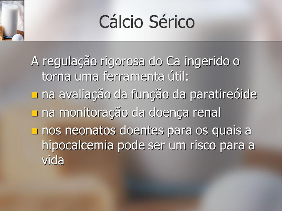 Cálcio SéricoA regulação rigorosa do Ca ingerido o torna uma ferramenta útil: na avaliação da função da paratireóide.