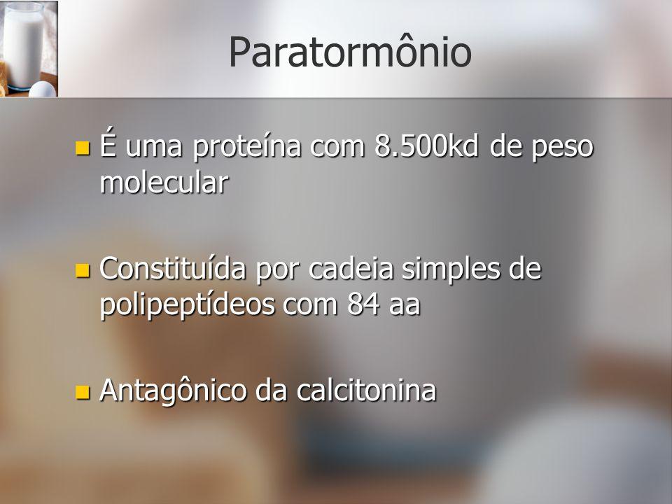 Paratormônio É uma proteína com 8.500kd de peso molecular