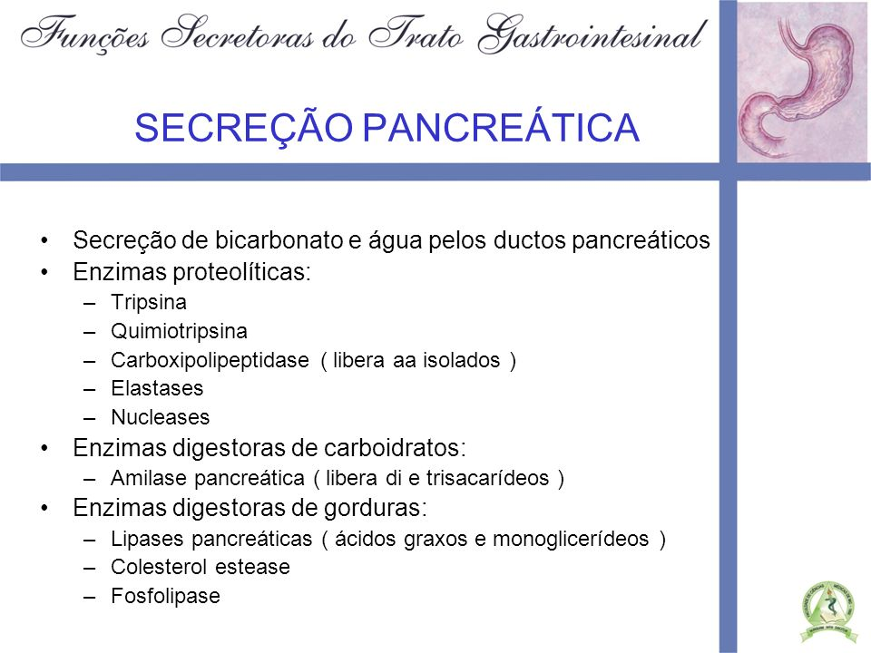 SECREÇÃO PANCREÁTICASecreção de bicarbonato e água pelos ductos pancreáticos. Enzimas proteolíticas: