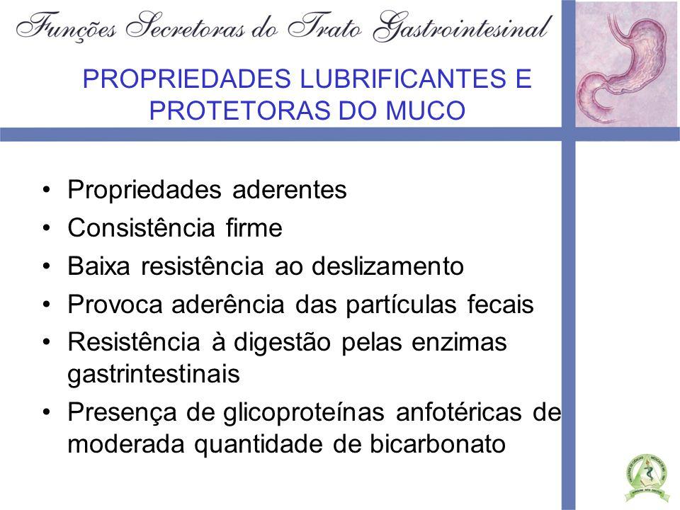 PROPRIEDADES LUBRIFICANTES E PROTETORAS DO MUCO