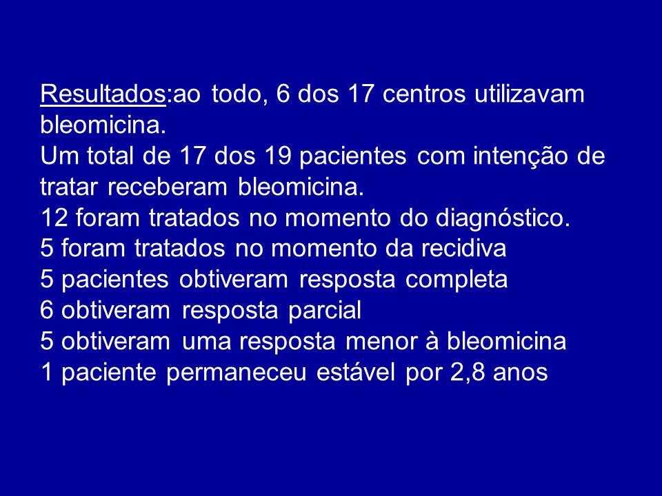 Resultados:ao todo, 6 dos 17 centros utilizavam bleomicina