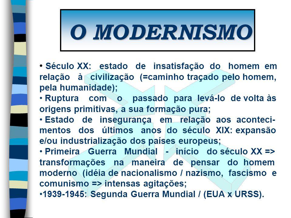 O MODERNISMO Século XX: estado de insatisfação do homem em