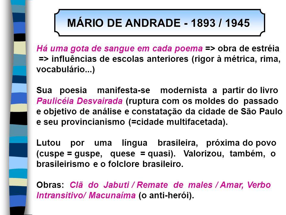 MÁRIO DE ANDRADE - 1893 / 1945 Há uma gota de sangue em cada poema => obra de estréia. => influências de escolas anteriores (rigor à métrica, rima,