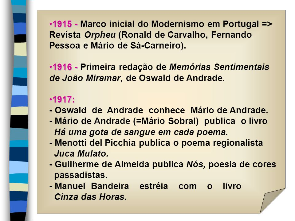 1915 - Marco inicial do Modernismo em Portugal =>