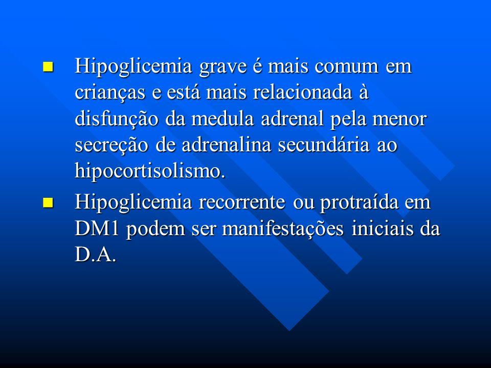 Hipoglicemia grave é mais comum em crianças e está mais relacionada à disfunção da medula adrenal pela menor secreção de adrenalina secundária ao hipocortisolismo.