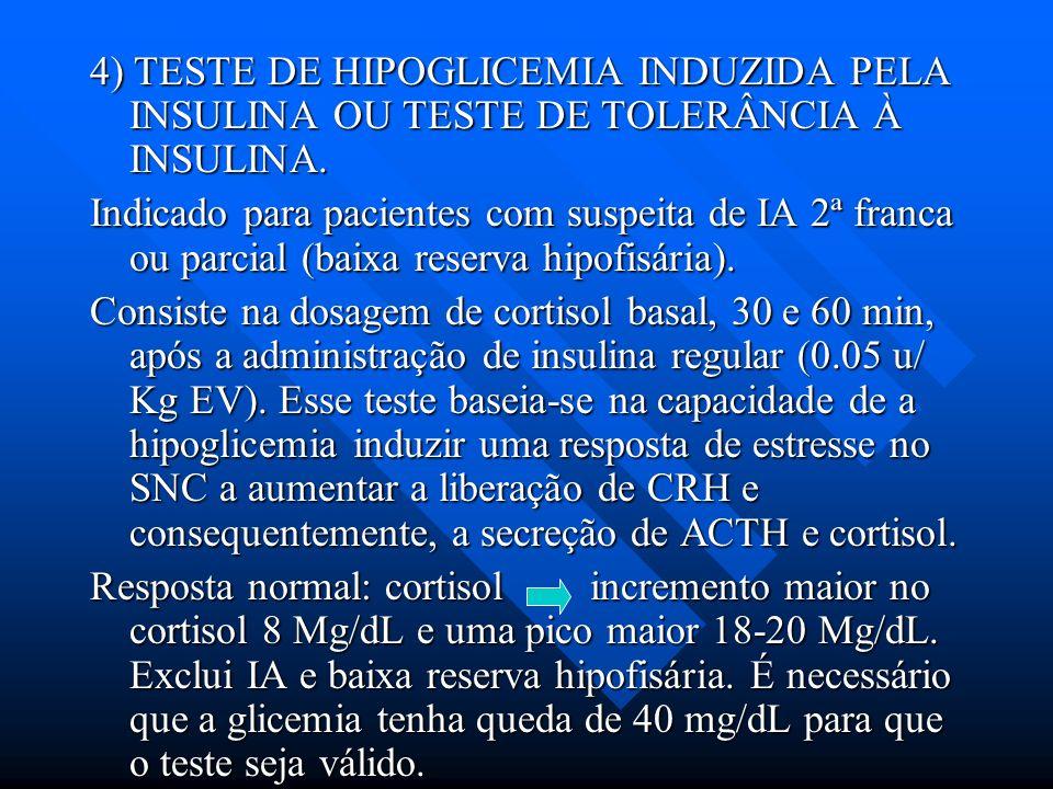 4) TESTE DE HIPOGLICEMIA INDUZIDA PELA INSULINA OU TESTE DE TOLERÂNCIA À INSULINA.