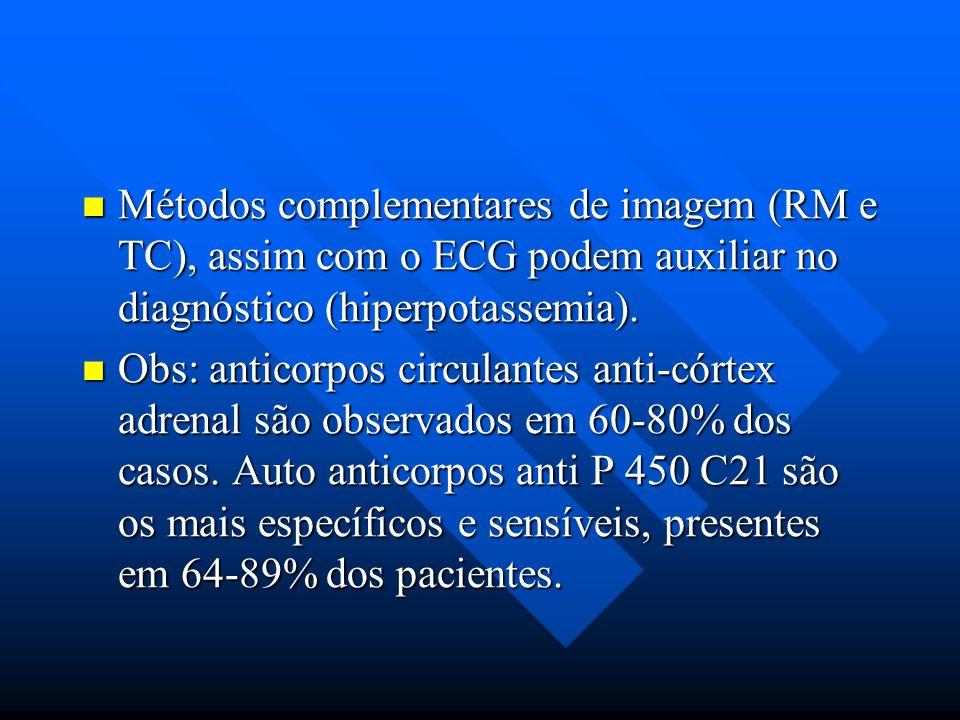 Métodos complementares de imagem (RM e TC), assim com o ECG podem auxiliar no diagnóstico (hiperpotassemia).