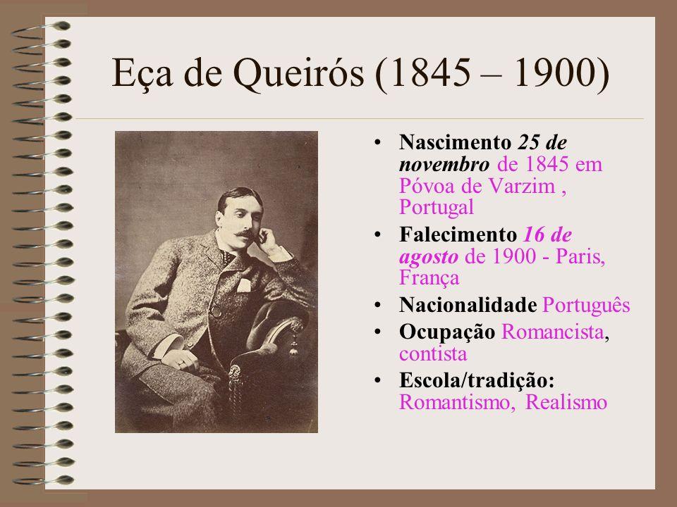 Eça de Queirós (1845 – 1900)Nascimento 25 de novembro de 1845 em Póvoa de Varzim , Portugal. Falecimento 16 de agosto de 1900 - Paris, França.
