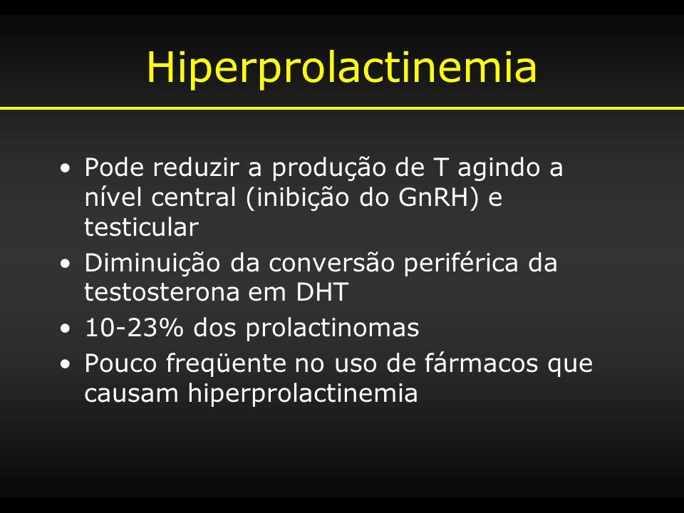 Hiperprolactinemia Pode reduzir a produção de T agindo a nível central (inibição do GnRH) e testicular.
