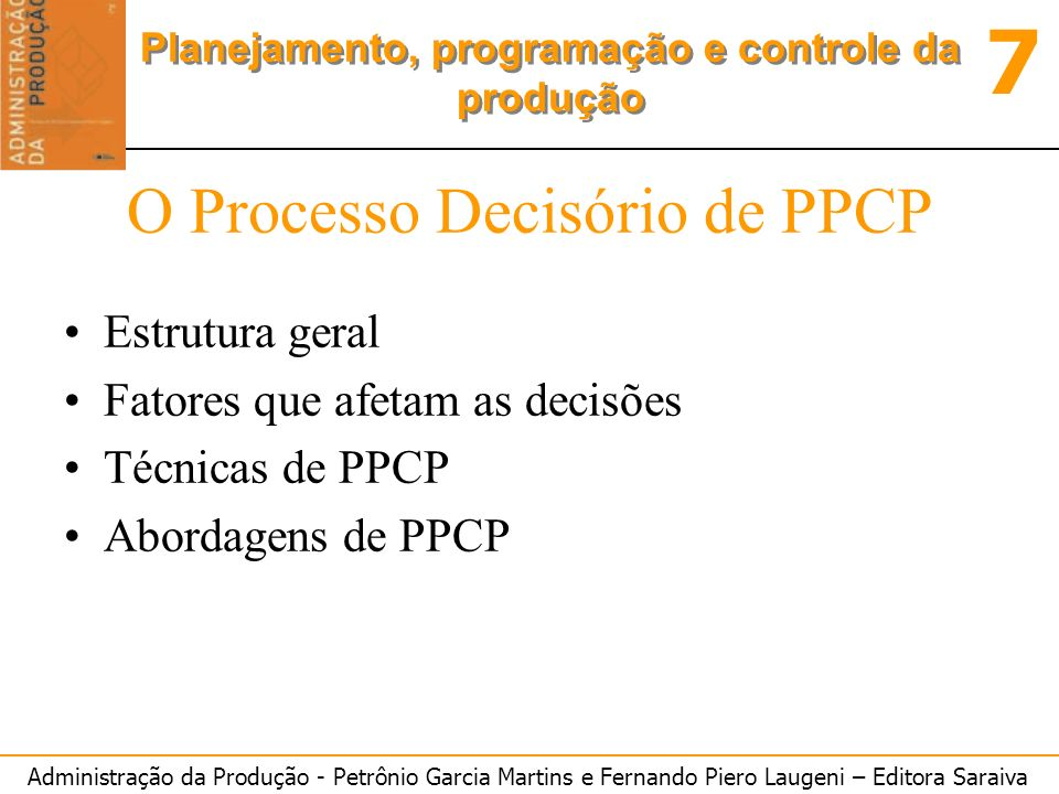 O Processo Decisório de PPCP