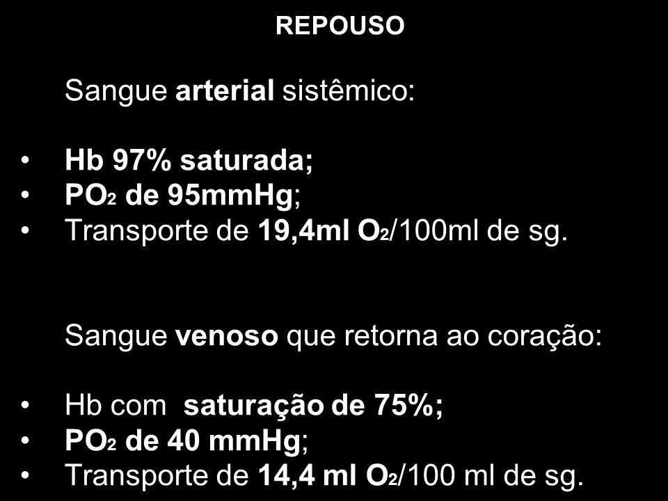 Transporte de 19,4ml O2/100ml de sg.