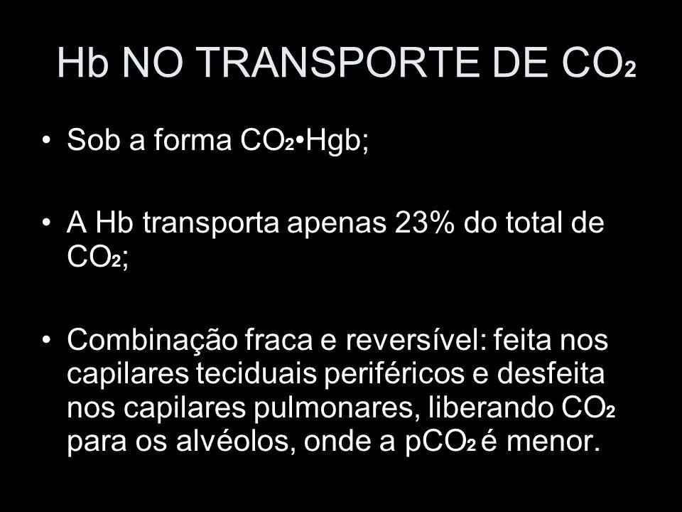 Hb NO TRANSPORTE DE CO2 Sob a forma CO2•Hgb;