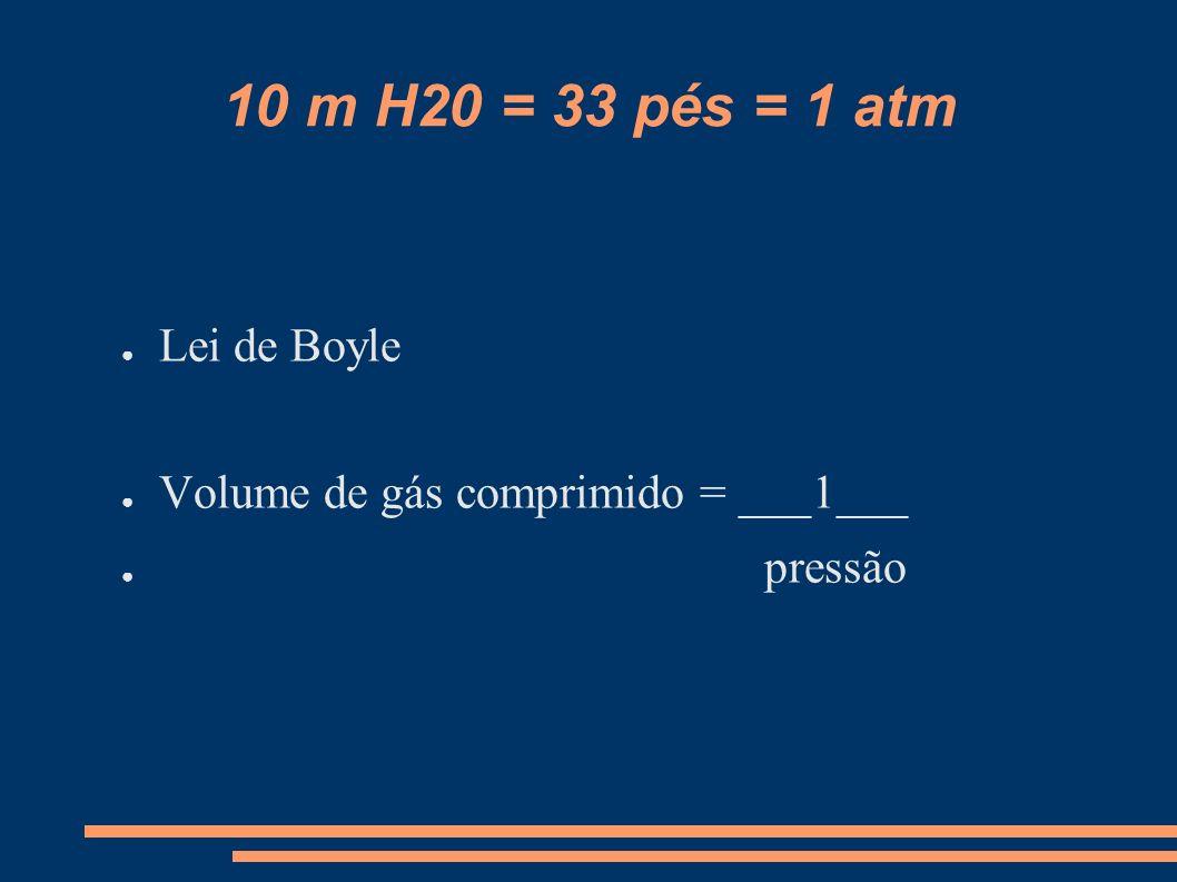 10 m H20 = 33 pés = 1 atm Lei de Boyle