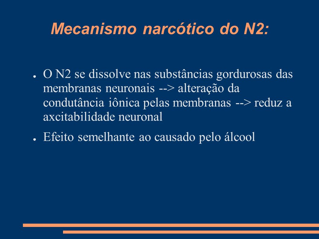 Mecanismo narcótico do N2: