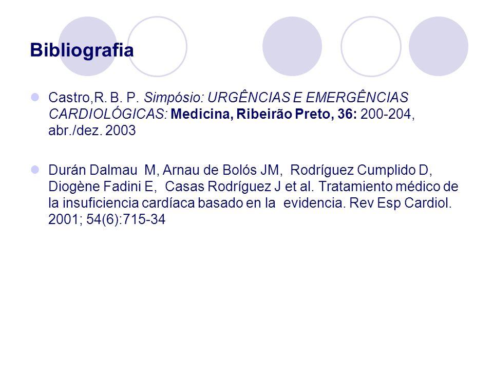 Bibliografia Castro,R. B. P. Simpósio: URGÊNCIAS E EMERGÊNCIAS CARDIOLÓGICAS: Medicina, Ribeirão Preto, 36: 200-204, abr./dez. 2003.