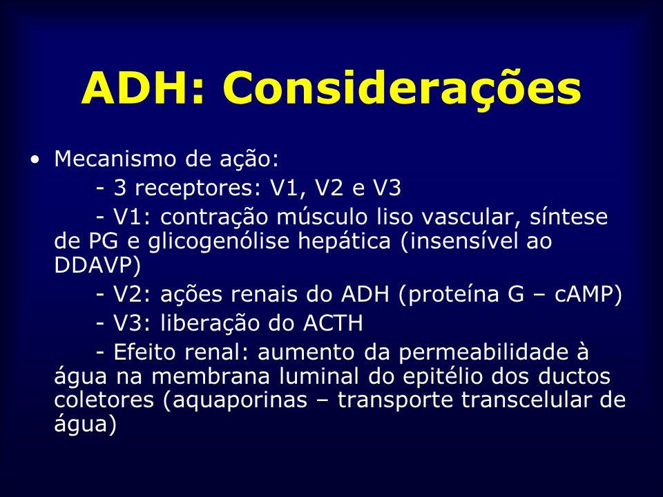 ADH: Considerações Mecanismo de ação: - 3 receptores: V1, V2 e V3