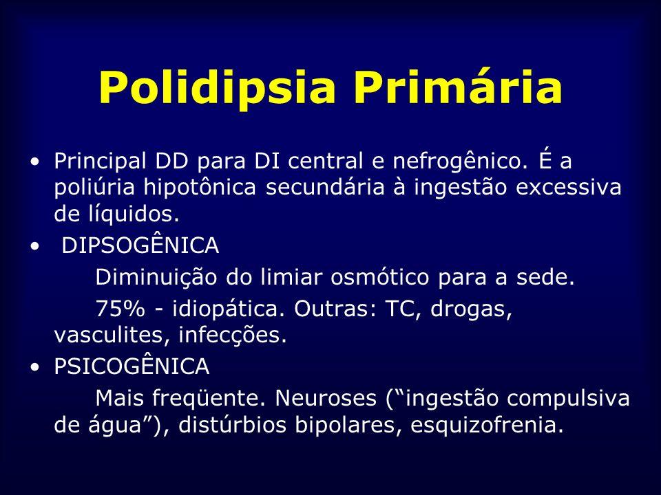 Polidipsia Primária Principal DD para DI central e nefrogênico. É a poliúria hipotônica secundária à ingestão excessiva de líquidos.