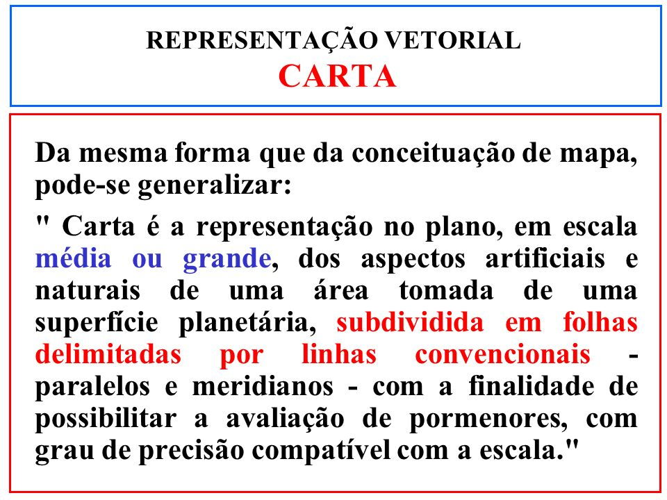 REPRESENTAÇÃO VETORIAL CARTA