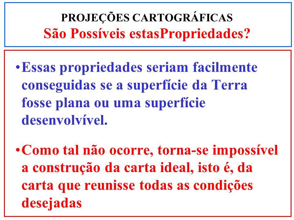 PROJEÇÕES CARTOGRÁFICAS São Possíveis estasPropriedades