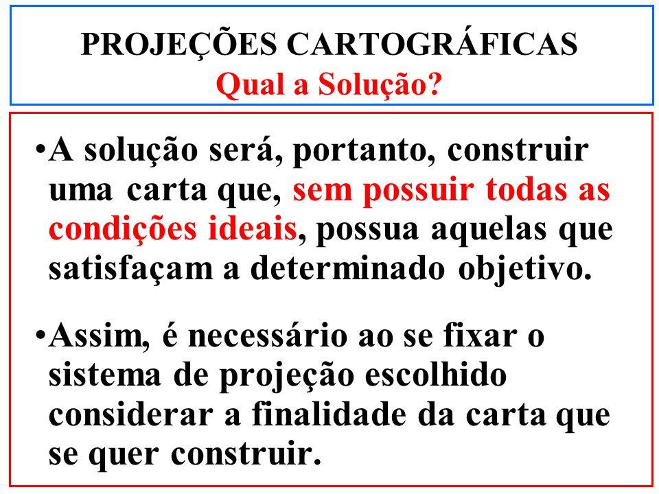 PROJEÇÕES CARTOGRÁFICAS Qual a Solução