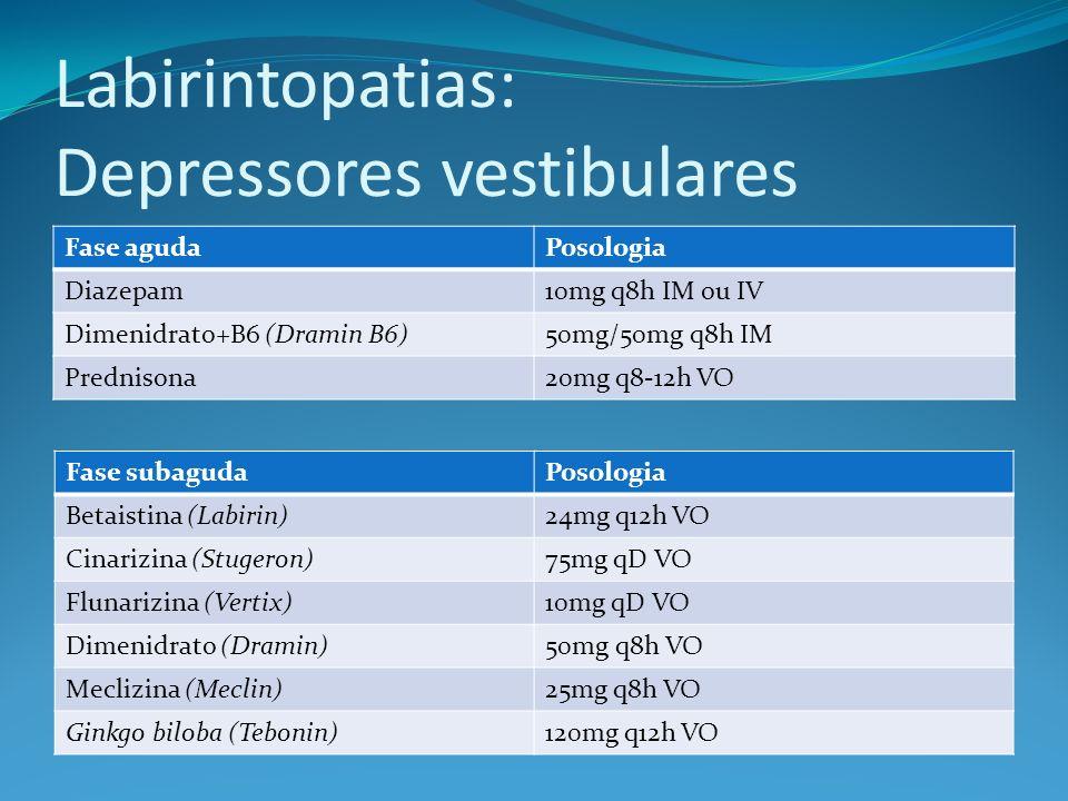 Labirintopatias: Depressores vestibulares
