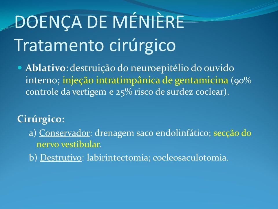 DOENÇA DE MÉNIÈRE Tratamento cirúrgico