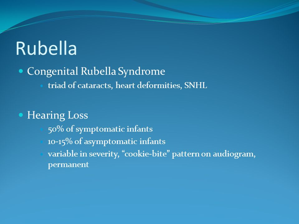 Rubella Congenital Rubella Syndrome Hearing Loss