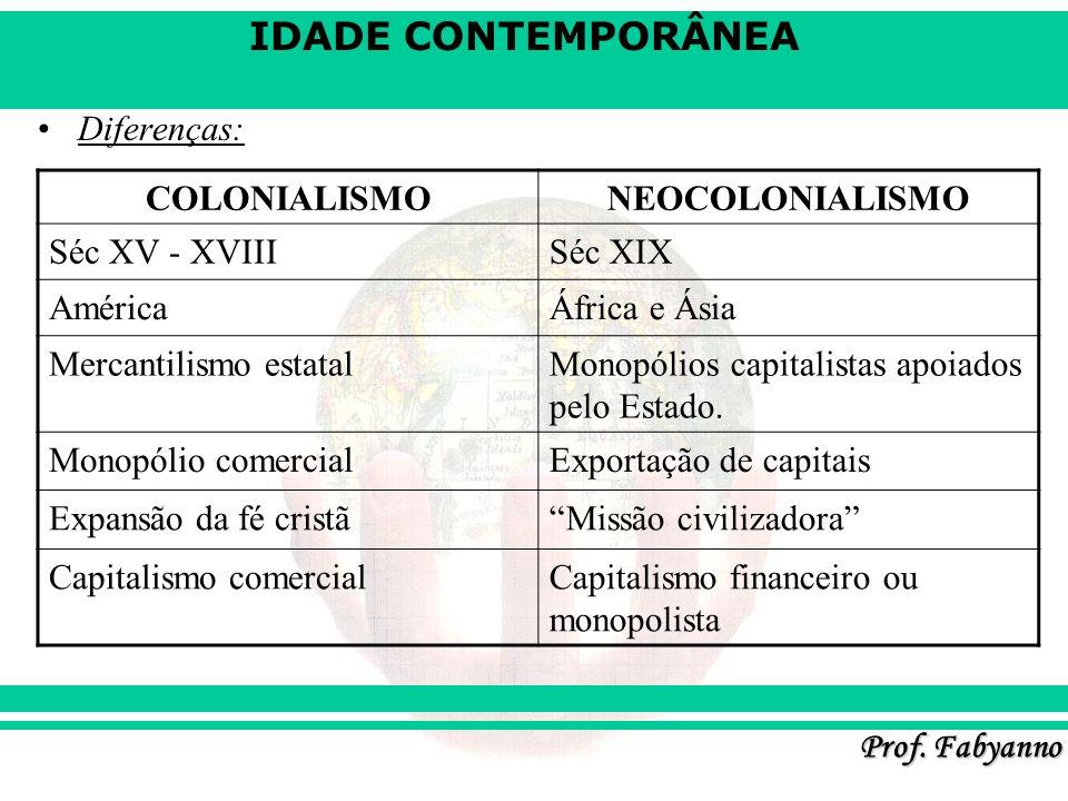 Diferenças: COLONIALISMO. NEOCOLONIALISMO. Séc XV - XVIII. Séc XIX. América. África e Ásia. Mercantilismo estatal.
