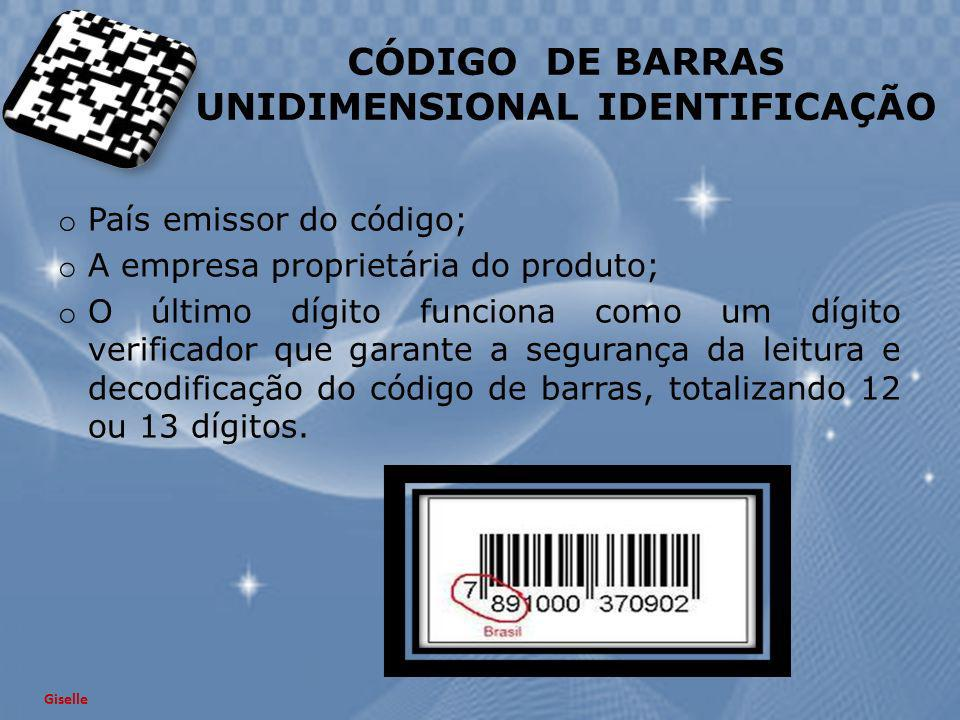 CÓDIGO DE BARRAS UNIDIMENSIONAL IDENTIFICAÇÃO
