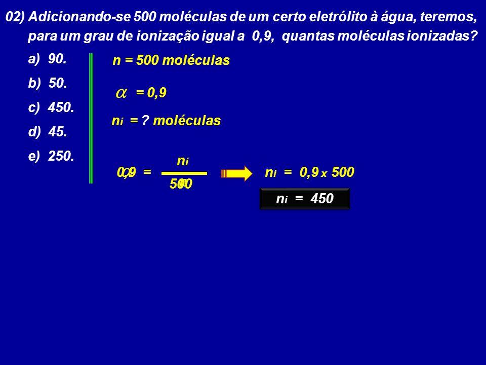 02) Adicionando-se 500 moléculas de um certo eletrólito à água, teremos,