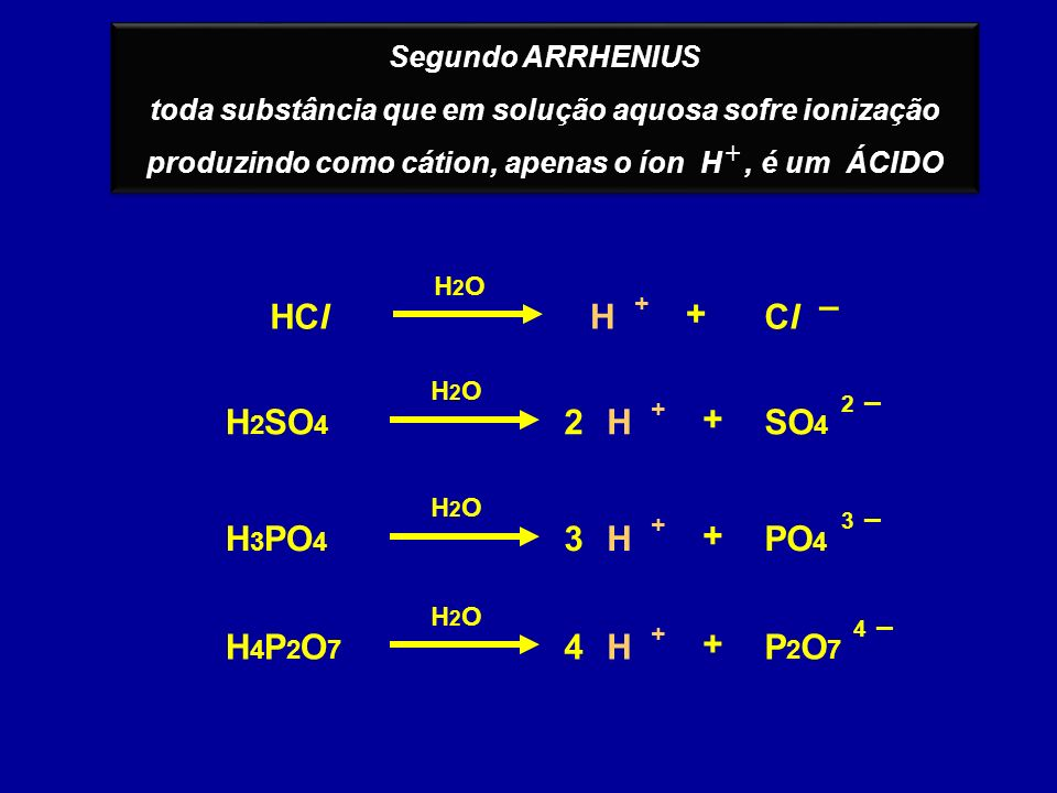 – HCl H + Cl H2SO4 2 H + SO4 H3PO4 3 H + PO4 H4P2O7 4 H + P2O7
