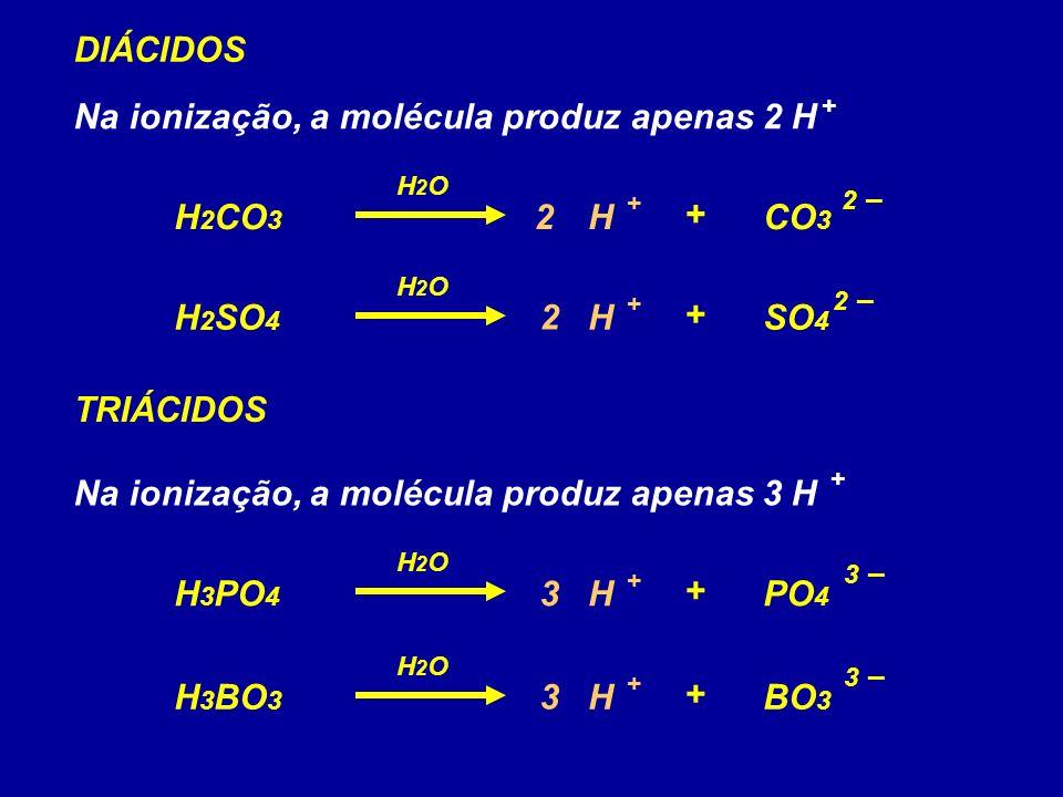 Na ionização, a molécula produz apenas 2 H