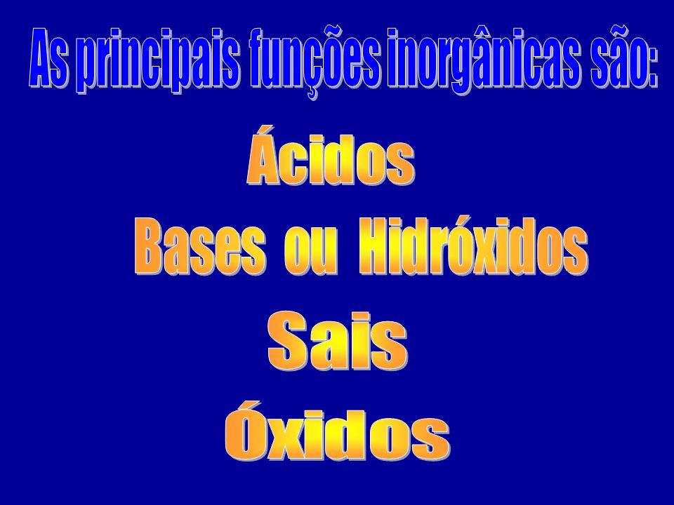 As principais funções inorgânicas são: