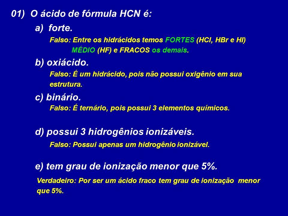 01) O ácido de fórmula HCN é: forte.