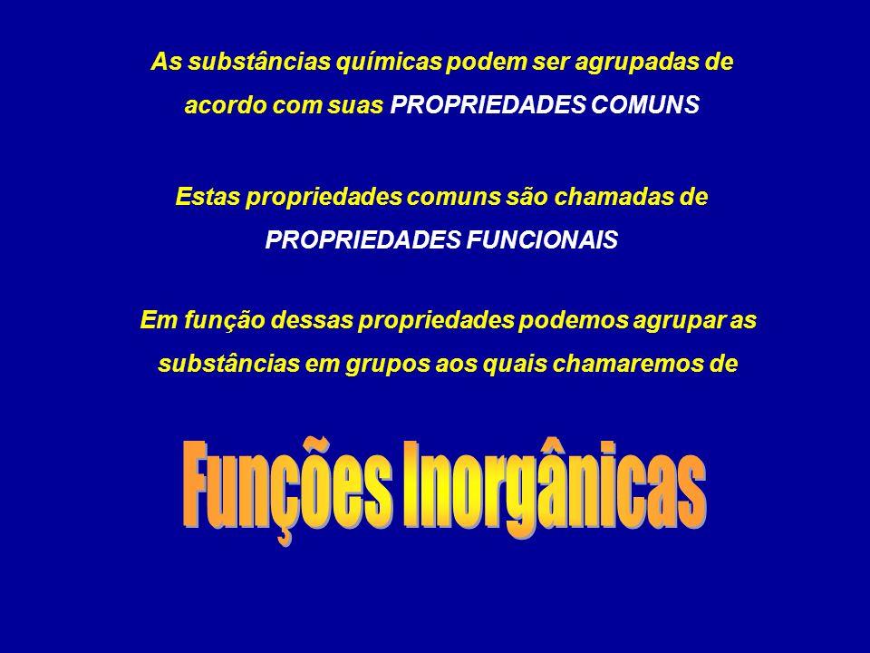 Estas propriedades comuns são chamadas de PROPRIEDADES FUNCIONAIS