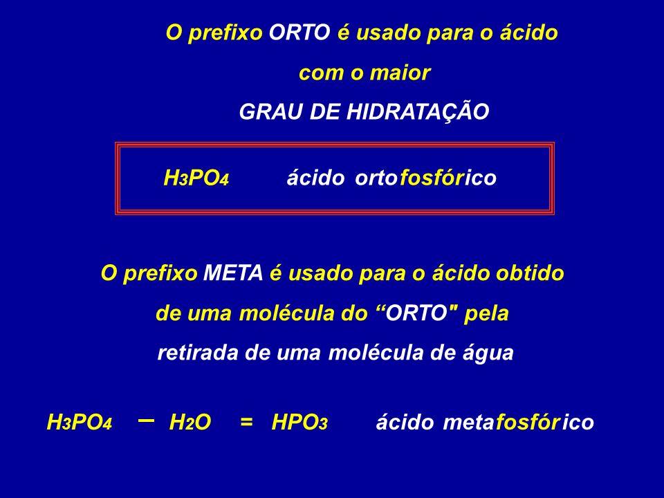 O prefixo ORTO é usado para o ácido retirada de uma molécula de água