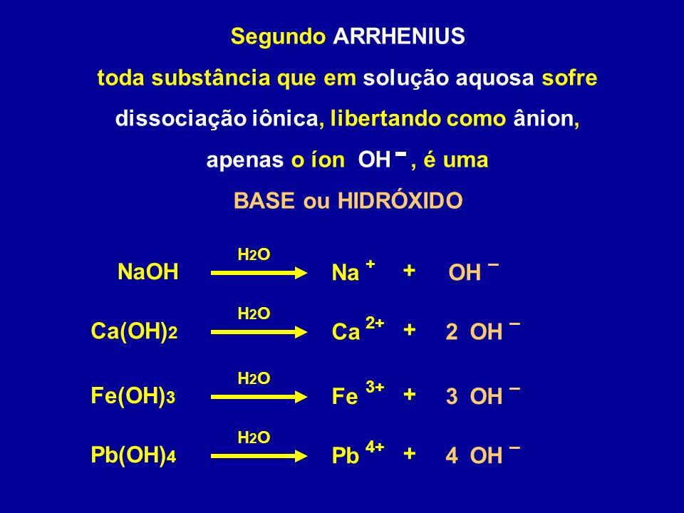 Segundo ARRHENIUS toda substância que em solução aquosa sofre dissociação iônica, libertando como ânion, apenas o íon OH , é uma.