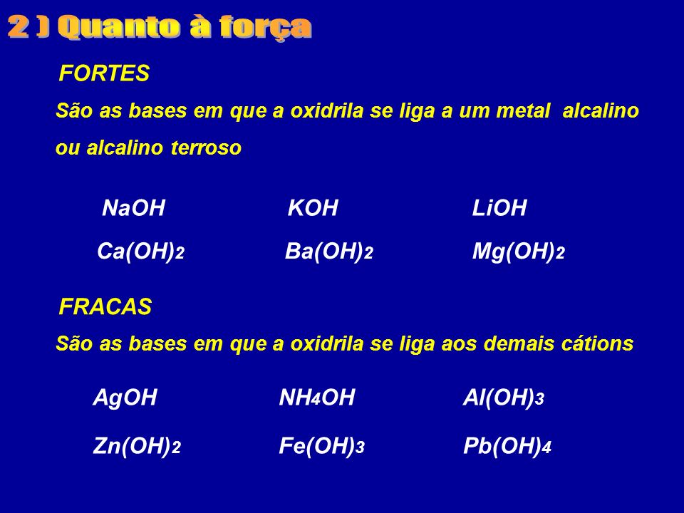 2 ) Quanto à força FORTES NaOH KOH LiOH Ca(OH)2 Ba(OH)2 Mg(OH)2 FRACAS