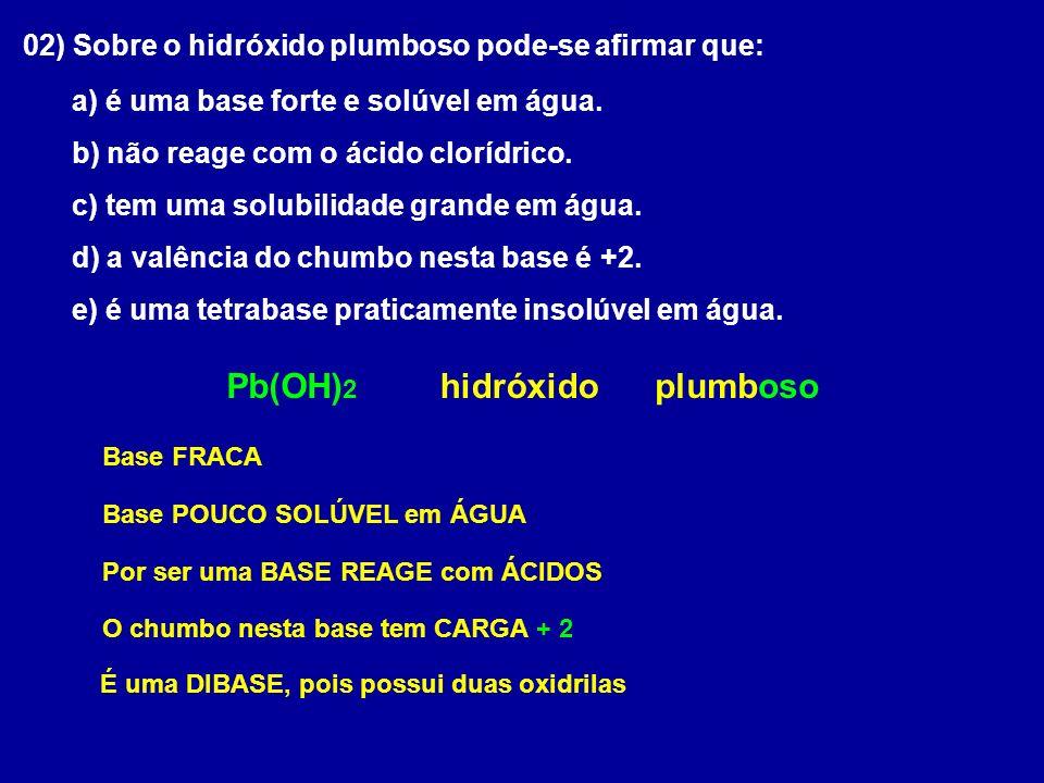 Pb(OH)2 hidróxido plumboso