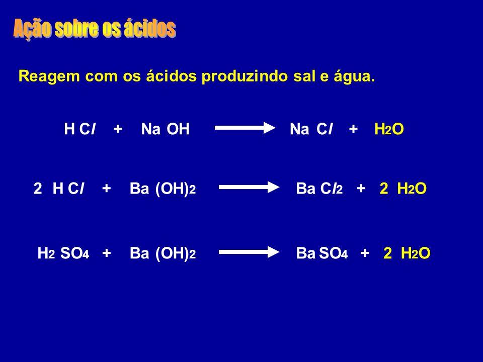 Ação sobre os ácidos Reagem com os ácidos produzindo sal e água. H Cl