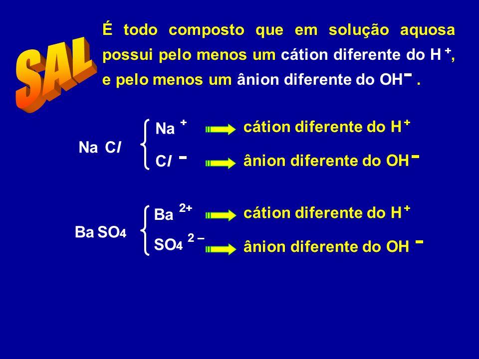 É todo composto que em solução aquosa possui pelo menos um cátion diferente do H , e pelo menos um ânion diferente do OH .