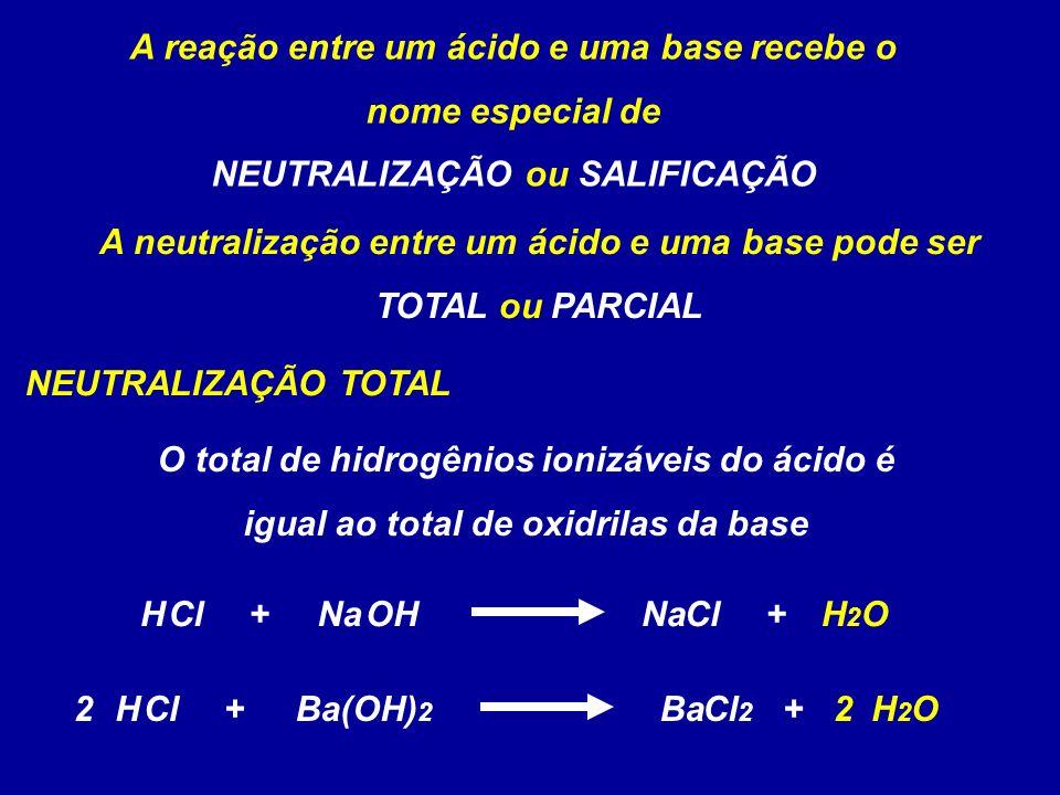 A reação entre um ácido e uma base recebe o nome especial de