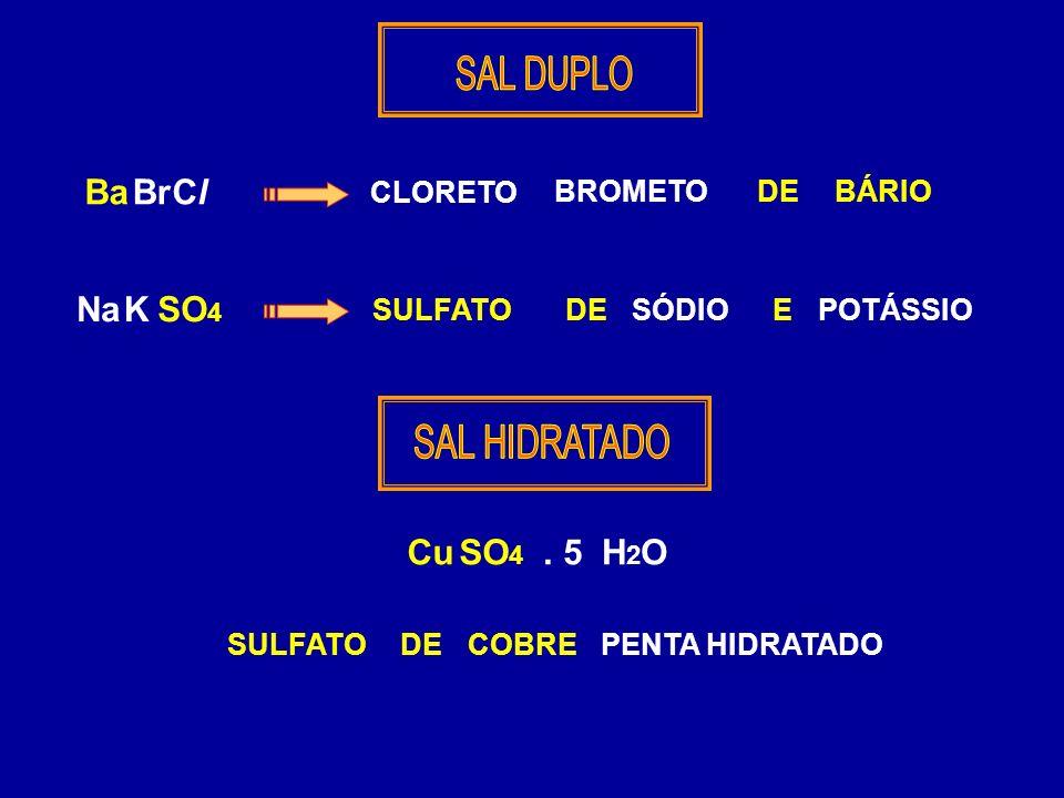 Ba Br Cl Na K SO4 Cu SO4 . 5 H2O CLORETO BROMETO DE BÁRIO SULFATO DE